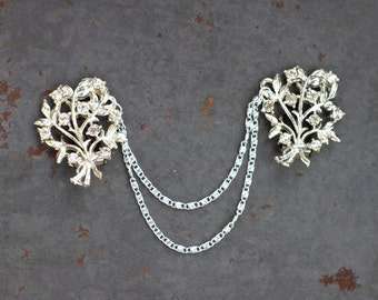 Vintage Collar Clip - Silver and Rhinestones - Sweater Clip or Cardigan Clip