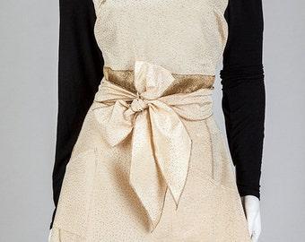 Vintage Apron, Women's Apron, Recycle, Gold Glamour Apron