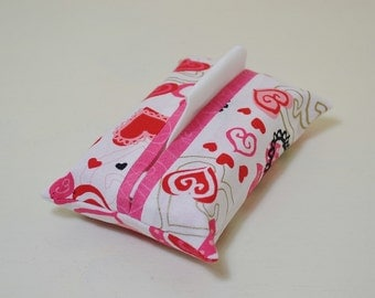 Fabric Tissue Holder - Pocket Tissue Pouch Cover - Purse Accessory - Valentines Day Love - Red Gold Hearts - Dark Pink Heart Swirls For Her