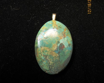 Turquoise, King's Manassa, Pendant flower bail 71ct