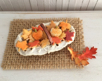 Miniature Basket Of Leaf And Pumpkin Sugar Cookies In Pretty Fall Colors