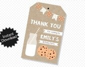 Editable Milk and Cookies Party Favor Tags - Instant Download PDF Template - Editable PDF Favor Tags .. mc02