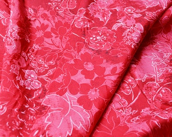new arrival red flower silk  fabric one yard for dress blouse diy