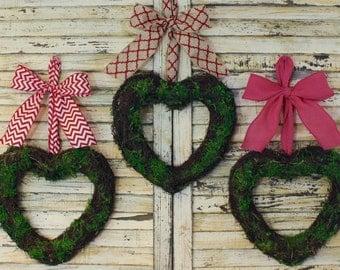 Heart Wreath - Valentine Wreath - Moss Wreath - Spring Wreath - Choose Bow- Choose Size - Quick Ship