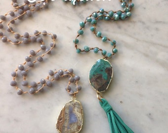 Crystal Beaded Necklace with Stone Druzy Pendant