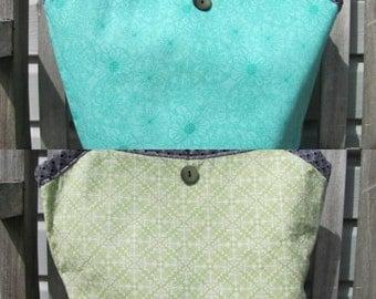 handmade bag, reversible bag, olive green bag, turqouise green bag, Green Bag, Shoulder Bag,  100% Cotton Bag