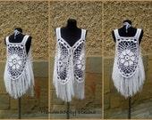 White Bohemian Vest, Boho Hippie Vest, Vest With Fringe, Crochet Vest, Summer Festival Clothing, Crocheted Circular  Vest, Mandala Vest