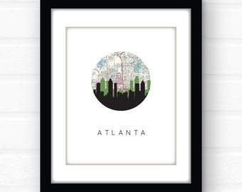 Atlanta skyline print | Atlanta art print | Atlanta map print | Atlanta, Georgia wall art | Atlanta Georgia, southern decor | Georgia print