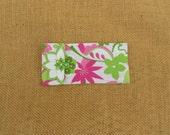 Tampon Holder - Glasses Case - Pink and Green Sparkle Flowers -