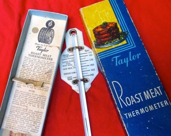 Roast meat thermometer baking cooking temperature utensil Taylor Instrument Co. USA 1940's 50's Original box retro decor Vintage kitchen