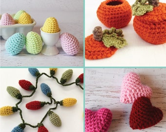 Amigurumi Crochet PATTERNS - Celebrate with Crochet - Pumpkin Candy Dish, Christmas lights, Valentine Hearts, Easter Eggs