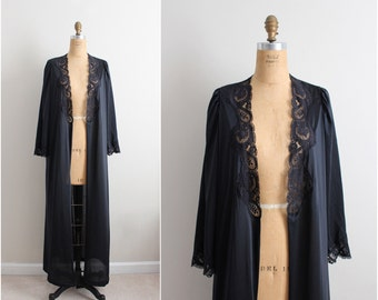 Vintage 70s Olga Nightgown Black Robe/ Full Robe Slip/  Wedding Slip / Lace lingerie/ Size S/M