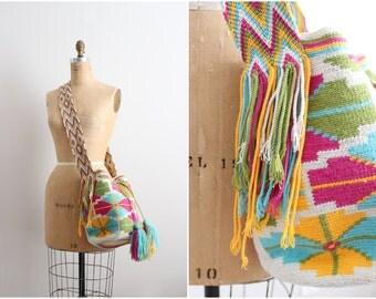 Wayuu Bag - Hand woven Mochila Bag - Pastel Colorful Native Print.