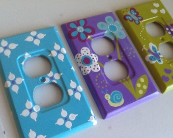 Custom Painted Lightswitch / Outlet Plates - Dreamland / Elephants / Owls
