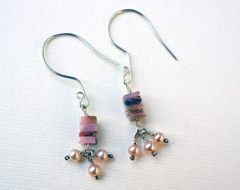 Pink Granite and Pearl Earrings