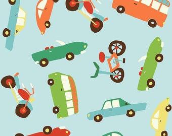 04450 -Riley Blake Wheels 2 Main cars in blue cotton fabric- 1 yard  C5040