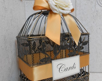 Small Birdcage Wedding Card Holder / Birdcage / Wedding Card Holder / Wedding Decorations / Wedding Card Box / Gold Wedding Decor / Wedding