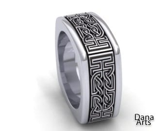 Celtic Knot square interweave - Sterling silver band