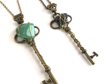 SALE: Steampunk Gemstone Skeleton Antique Key Necklace - Titanium Quartz or Jade Agate - Wire Wrapped Gold