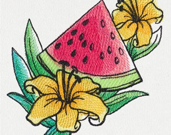 Watermelon Embroidered Flour Sack Hand/Dish Towel