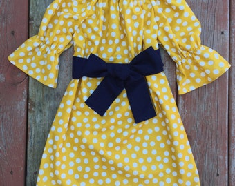 Girls Fall Mustard Yellow Polka Dot Peasant Dress with Sash 6 12 18 24 2T 3T 4T 5/6 7/8 9/10 11/12 13/14