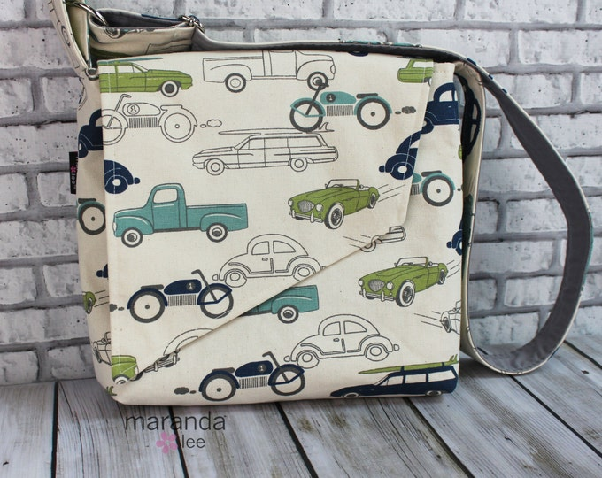 Nori Flap Messenger Slouch Bag with Adjustable Cross Body Bag -Cars and Trucks - Slow Ride  iPad Bag