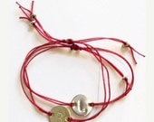 Personalized Bracelet Red String Gold Silver Disc Charm Letter Engraved Gift Adjustable Friendship Best Friends Handmade Jewelry Jewellery