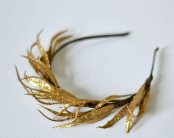 Golden leaves hairpiece, boho gold headband, greek goddess leaves crown, Helena.
