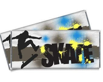 Grunge Skate Candy Bar Wrappers - Skate Birthday Party Favors - Set of 12
