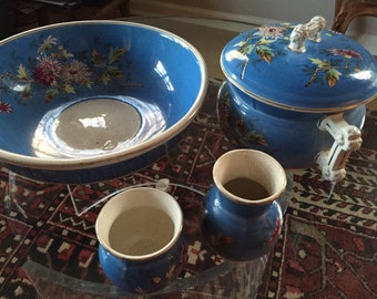 Four piece set. Large blue chinoserie bowl sugar creamer. And tureen
