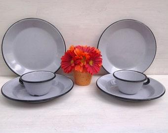 Vintage enamelware dinnerware - gray enamelware - graniteware - camping dishes - enamelware plates - enamelware bowls - enamelware cups