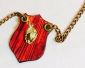 Mounted Unicorn Head Necklace