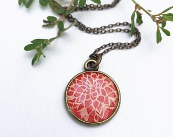 Red Dahlia Necklace, Original Painting of a Dahlia Flower, Red Art Pendant