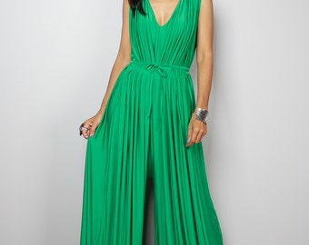 Green Jumpsuit - Sleeveless Green Jumper Maxi Dress : Chic & Casual Collection