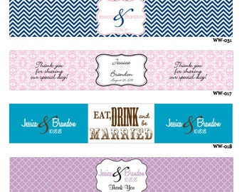 60 Custom Glossy Waterproof Wedding Water Bottle stickers - hundreds of designs to choose from - change designs to any color or wording