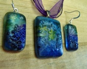 Glass fusion and alcohol ink jewelry set