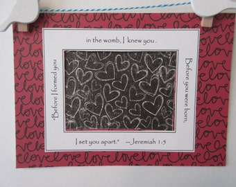 Ultrasound Mat w/ Bible Verse and Optional Frame - Red Black and White  - Chalkboard Hearts and Love Script - Gender Neutral 5x7
