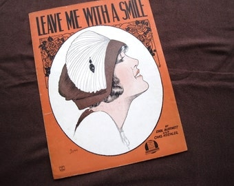 Leave Me With A Smile! - Vintage sheet music - antique sheet music - Flapper With Hat by Barbelle - 1920s art to frame or craft
