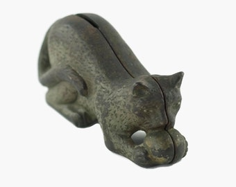 Antique AC Williams Cast Iron Still Bank Cat Playing with Ball