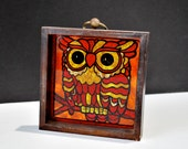 Framed Owl Super 70's Red, Orange, & Yellow