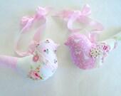 2 Pink Fabric Birds / Shabby Chic Birds / Cottage Sweet / Bird Ornaments / Bird Pillows / Pink Birds / Bird Decor /Pink Roses / Vintage Lace