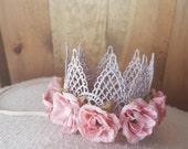 Dusty Rose Lace Flower Crown - Princess Crown - Newborn Baby Photo Prop Dainty Crown - Sleeping Prop - Infant Tiara - Pink Mauve - Birthday