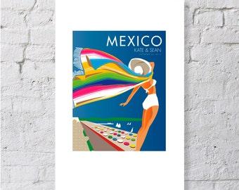 Mexico, beach blanket scene, keepsake / print
