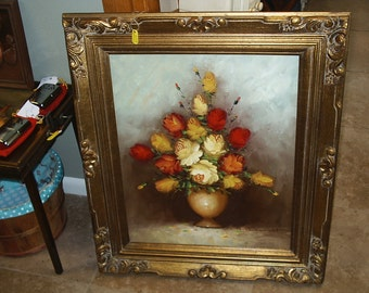 Large Vintage Floral Oil Painting.    Local Pick Up Only! Antique Store Brooksville, FL