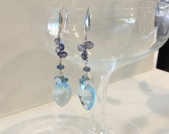 Blue Topaz Earrings with Iolite and Moonstone in Sterling Silver