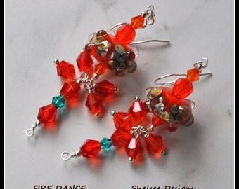 Orange Lampwork Earrings,Glass Earrings,Dangle Earrings,Colorful Earrings - FIRE DANCE
