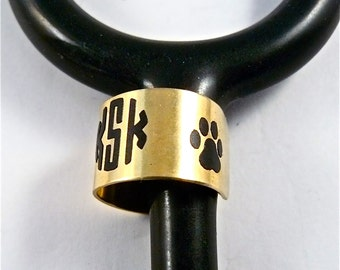 stethoscope ID tag, stethoscope ID ring, stethoscope ID charm, ring-cuff, nugold, dog paw, veterinarian, vet tech, medical, nurse, doctor