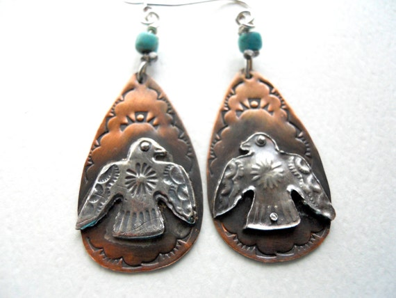 Handmade, One-of-a-kind, Southwestern, Boho, Cowgirl, Thunderbird, Copper, Fine Silver, Tear Drop, Turquoise Earrings