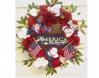 Patriotic Wreath, Memorial Day or 4th of July Door Wreath Grapevine Wreath with Roses and Sign