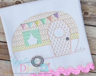 Vintage Stitch Glamping Camper Digital Embroidery Design Machine Applique